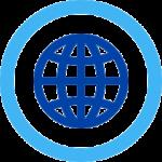 blue globe in circle