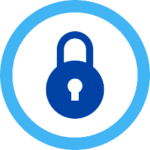 round padlock in blue