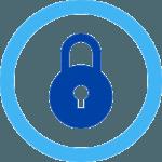 round padlock in blue