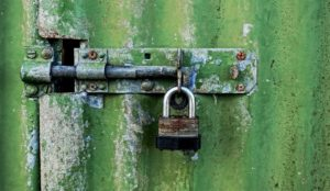 What does that mean post header for Blog by White Horse Domains. Closed padlock on gate