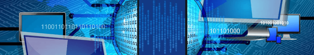 Online Storage header for White Horse Domains. Computers connected with binary code.